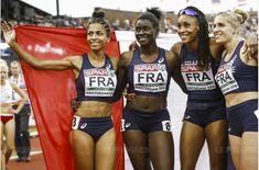 Floria Guei, première en partant de la gauche, et ses partenaires du 4x400m dames Brigitte Ntiamoah, Phara Anachasis et Marie Gayot ont offert à la france une médaille d'argent pour conclure l'Euro. 2016.  Photo EPA maxPPP