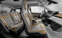 The BMW i3 Giga World interior featuring Giga Cassia Natural Leather and Carum Spice Grey Wool Cloth