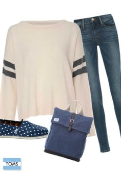All you need for the perfect fall outfit are a fitted pair of jeans, an oversized sweater and TOMS Classics.