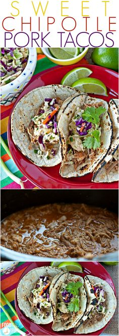 This Sweet Chipotle Pork Tacos recipe is an easy slow cooker recipe that is flavorful and a real crowd-pleaser! | Cropckpot Recipe | Slow Cooker Tacos | Sweet Pork Tacos | Recipe for a Crowd