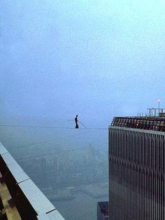 Phillipe Petit walks between the Twin Towers, New York, 1974.
