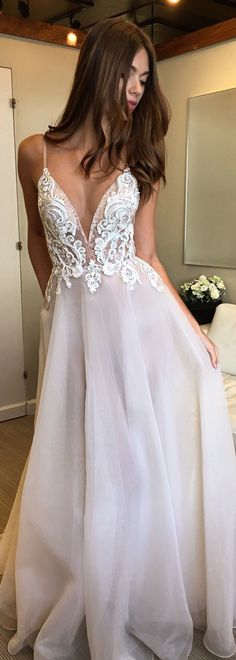 Muse by BERTA bridal sleeveless lace romantic a line wedding dress chapel train -Muse by BERTA Wedding Dresses | @bertabridal