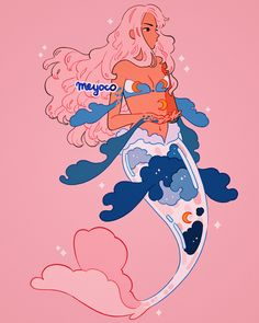 Mermaid by Meyo Cute Kawaii Drawings, Kawaii Art, Cool Drawings, Mermaid Drawings, Mermaid Art, Cute Art Styles, Cartoon Art Styles, 4 Panel Life, Creation Art