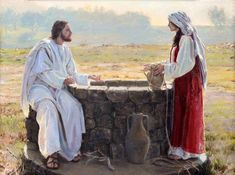 Jesus Christ and the Samaritan Woman at the Well signed fine giclee print on heavyweight archival pa Pictures Of Jesus Christ, Bible Pictures, Lds Art, Bible Art, Spoken Word, Christian Artwork, Jesus Stories, Bible Illustrations, Jesus Art