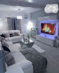Gray interior color scheme beautiful home decor living room - Amazed by this entire gray living room by Click the image to try our free home d - Glam Living Room, Living Room Decor Cozy, Interior Design Living Room, Living Room Designs, Living Room Goals, Interior Color Schemes, Gray Interior, Unique House Design, Home Design