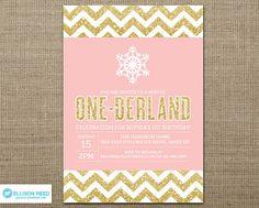 Winter Onederland Invitation - Snowflake Invitation - Winter Invitation - Gold Glitter - Silver Glitter - First Birthday  Chevron Printable