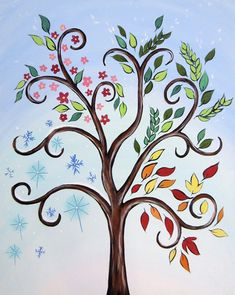 Whimsical tree painting canvases wall decor new ideas Canvas Wall Decor, Canvas Art, Fall Canvas Painting, Wine And Canvas, Paint And Sip, Easy Paintings, Canvas Paintings, Paint Party, Art Plastique