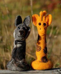 Wolf, Giraffe, Garden Sculpture, Outdoor Decor, Store Windows, Figurines, Felt Giraffe, Wolves, Giraffes