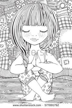 Cute Girl Yoga Pose Adult Coloring Stock Vector (Royalty Free) 577891792 Cute girl in yoga pose. Adult coloring page. Black and white vector illustration. Cute Coloring Pages, Printable Adult Coloring Pages, Doodle Coloring, Mandala Coloring, Coloring Books, Doodle Art Drawing, Yoga Drawing, Zen Art, Digi Stamps