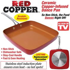 Red Copper Non-Stick Square Dance Pan. I've got to get this for my huevos rancheros.