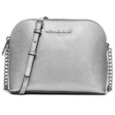 Michael Michael Kors Silver Cindy Large Dome Crossbody (913920 PYG) ❤ liked on Polyvore featuring bags, handbags, shoulder bags, purses, silver, crossbody shoulder bag, silver handbags, shoulder handbags, silver purse and shoulder sling bag