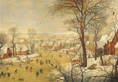 Pieter Brueghel the Younger, Winter landscape with a bird trap, 1626. Oil on oak panel, 40.4 by 57.2 cm.; 15⅞ by 22. in. (est. £1-1.5 million). Photo: Sotheby's.