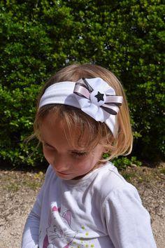 bandeau bébé enfant fille étoile noire paillette headband coton large blanc