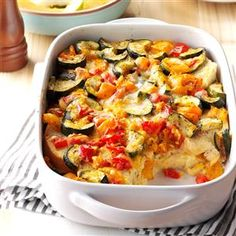 Roasted Vegetable Strata Recipe -With the abundance of zucchini my family has in the fall, this is the perfect dish to use what we have. Cheesy and rich, this is a warm, classic breakfast dish sure to please! —Colleen Doucette, Truro, Nova Scotia