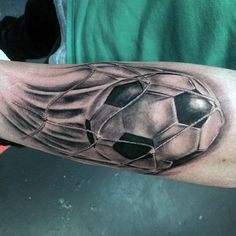 Soccerball Going Into Net Mens Forearm Tattoos