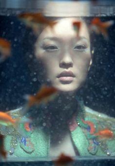 Wing Shya, fish tank, goldfish, portrait, woman, anomie, under water, through glass,
