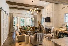 Living room - love the walls and sliding barndoors - neutral palette