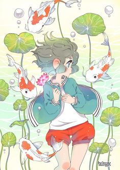 Lottus oc and Koi fishes by Paulinaapc on DeviantArt - Drawings - Kawaii Drawings, Art Drawings Sketches, Cute Drawings, Arte Do Kawaii, Kawaii Art, Cute Art Styles, Cartoon Art Styles, Aesthetic Art, Aesthetic Anime