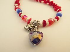 'Red, White, and Blue Necklace' is going up for auction at  4pm Thu, Jul 5 with a starting bid of $8.