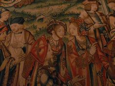 Détail de la tapisserie de David et Bethsabée by babicka2, via Flickr. David et Bethsabée, is a set of ten tapestries that are currently hanging in France, at the Musée National de la Renaissance at the Château d'Écouen. They are not the only set of tapestries with that name, but these are considered the finest. These tapestries were originally made in Brussels.