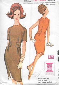 Vintage 1960s McCall's Sewing Pattern 6608- Misses' Dress size 14 bust 34 uncut…