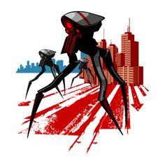 War of the Worlds inspired T-shirt on Teepublic https://www.teepublic.com/t-shirt/49832-tripod |  war of the worlds, hg wells, faux propaganda poster, retro future, futuristic, alien invasion, giant robot, tripod, war machine, machines, robots, mech, drone, drones, city skyline, science fiction, sci fi, movie, movies, tv, pop culture, vintage, grunge, grungy, shirt, tshirt
