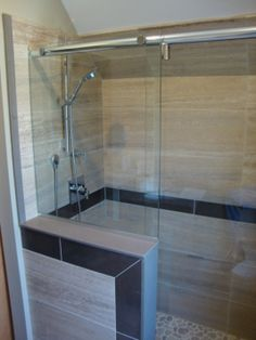 Hydroslide Modern Sliding Shower Knee Wall, Pretty Tile