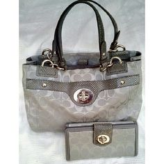 "COACH PENELOPE CARRYALL BAG F16540 MTCHNG WALLET AUTHENTIC PENELOPE CARRYALL & WALLET   * Color;  Khaki/Brown. Beige Lining   * 3 Comp. Inside w/Mag. Closing   * 1 Big Pocket in front W/ Turnlock (has some scratches)   * 1 Zipper Behind & Inside Comp., 2 Other    * 4 Mtl feet on Btm   *  12"" X 8"" X 4"" STRAPS 8"" See Pics of Little Scratch's on turnkey & 1Spot on Bttm. WALLET   * Color Khaki/Brown   * 7.5"" X 3.5"" Open 10""   * Crd crd & Coin Comp.(stain on top/see pic)   * Turnkey Close ( Very…"