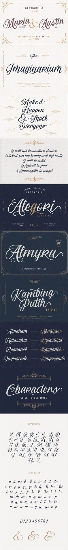 #Freebies : Almyra Script - This sexy #font was inspired by my friend, from her eyes until her heart. I create this one from her laugh, smile, and passion. Almyra come with beautiful uppercase and lowercase, stylistic set, alternates, multilingual, etc.  I also made a #design, this one is very well for #logotypes, letter, lables, cards, etc ( #Webdesign #branding #freelancers #designer #graphics #print #photography #travel #typography #lettering #typeface )