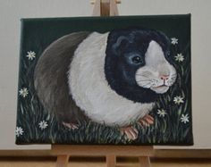 Amongst the Daisies - Guinea Pig Painting on Easel (original art NOT a print)