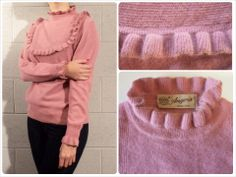 """* ANTIQUE ROSE ANGORA SWEATER *  stay warm this winter! antique rose angora vintage sweater with fluffy ruffles with a gold lamè line at neck, cuffs and chest medium weight, ultra soft No pilling or defects, excellent conditions  size S/M shoulders: 38 cm - 15"""" bust: 48 cm - 19"""" length: 61 cm - 24"""" € 35 plus p&p"""