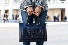 nyfw – ode to mj | embellished jacket, mirrored aviator shades, skinny jeans, black faux pony booties, navy satchel