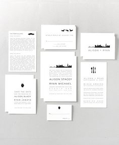 New York City Skyline Letterpress Save the Date Card