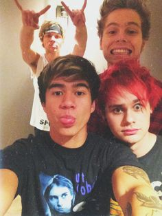 this time it's cal who's sticking his tongue out and mikey who looks confused