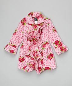 Loving this Mack & Co Pink Leopard Rose Double-Ruffle Coat - Infant, Toddler & Girls on #zulily! #zulilyfinds
