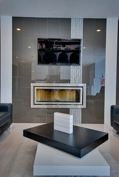 linear fireplace with vertical accent tile