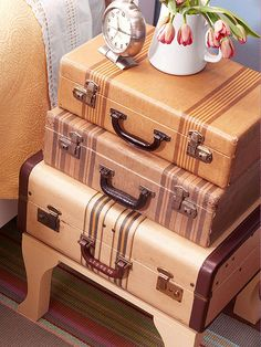 stacked suitcase nightstand. Great tip to put books/magazines in the suitcases to keep the piece stable and sturdy.