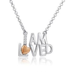 Sterling Silver and 14K Gold I am Loved Diamond Necklace 17 inch Amanda Rose Collection http://www.amazon.com/dp/B00N13ZP0I/ref=cm_sw_r_pi_dp_Yughub1PVP000