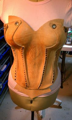 Wet formed leather corset
