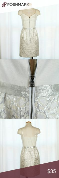 NWOT Marc New York Nordstrom Brocade Dress Gorgeous silver metallic brocade mini dress from Marc New York in NWOT condition. Features adjustable satin straps, exposed front zipper, and sweetheart neckline. Perfect for any formal occasion!   Please let me know if you have any questions or need more pictures. I will consider all reasonable offers, but no trades, please. Andrew Marc Dresses