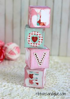 Valentine's Blocks made with @decoart chalky finish paints and @echoparkpaper Lucky in Love kit and Designer Dies.
