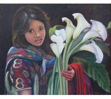 Niña con Calas #arte #oleo #pintura #cuadros #arteizate #retrato #mujer