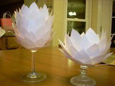 Paper flower centerpiece with light