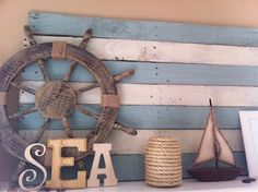 Blue and white pallet board.....    The Turquoise Home: My Summer, Lake-themed Mantel