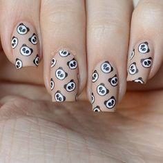 Nude nails with a splash of Panda. Hand-painted nail art by Acrylic Nail Designs, Acrylic Nails, Nail Art Designs, Nail Art Diy, Diy Nails, Painted Nail Art, Hand Painted, Panda Nail Art, Nail Art Techniques