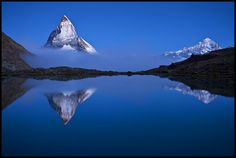 Trademark Global Szabo Zsolt Andras 'Night Mirror' Canvas Art - 47 x 30 x 2 Zermatt, Mirror Canvas Art, Henri Cartier Bresson, Ansel Adams, Artist Canvas, Beautiful World, Beautiful Places, Beautiful Sunset, Wonderful Places
