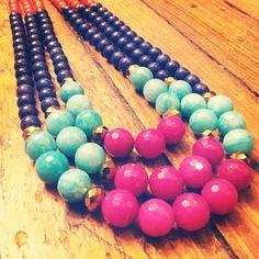 Pink, aqua, navy, orange three strand necklace