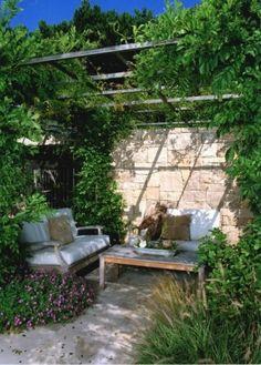 small patio ideas.  This would be perfect for the end of the garden. Garden Fencing trellis garden ideas
