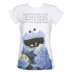 Ladies Sesame Street Cookie Monster Friend Rolled Sleeve Boyfriend... (€28) ❤ liked on Polyvore featuring tops, t-shirts, shirts, tees, rolled sleeve tee, sesame street tee, sesame street t shirts, boyfriend tank top and boyfriend shirt