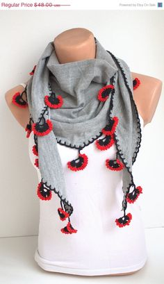 ON SALE NEW Grey Knitted Fabric Scarf with Crochet by fairstore, $40.80